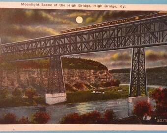 High Bridge, Kentucky, Train Crossing, Vintage Postcard, 1930s, Moon