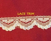 4 YARDS, CREAM, Flat Lace Sewing Edge Trim, Glossy Scallop Edge, 1/2 Inch Wide, L296