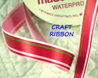 23 YARDS, 1960s Vintage, RED Pink Green 5/8 Inch, Stripe Satin Craft Ribbon, Berwick, Water Repellent Acetate, C162