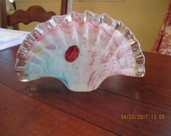 Murano Italian Glass Fan Vase ~ Multi Colored