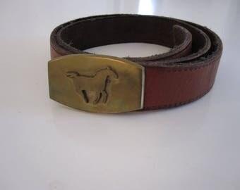 Vintage Leather Belt with Gold Horse Belt Buckle