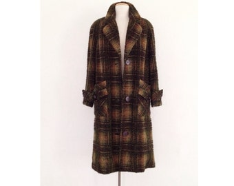 40s coat women long wool coat vintage 1940s coat boucle plaid 50s 1950s
