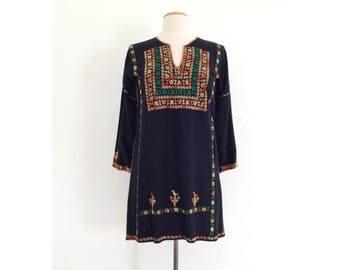 ethnic tunic top vintage boho blouse embroidered hippie boho clothing caftan kaftan dress palestinian bedouin small