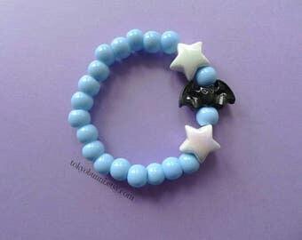 Blue Bats and Stars Bracelet -Creepy Cute- Lolita- Kawaii- Gothic- Pastel Goth- Gothic Lolita- Sweet Lolita-JFashion- Harajuku- Fairy Kei