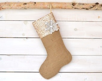 Burlap Christmas Stocking with Champagne Sequins