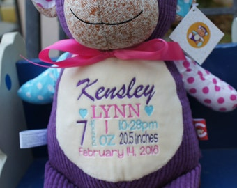 Etsy your place to buy and sell all things handmade personalized baby gift baby cubbies harlequin monkey birth announcement stuffed animal negle Image collections