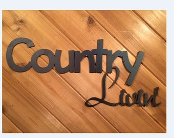 Country Living - Metal Wall Words - Metal Wall Art By PrecisionCut