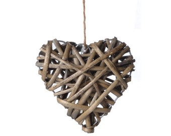 10cm Wicker / Willow Hanging Hearts for Home or Wedding Decoration