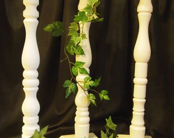 Lathe-turned Wedding Floral Stand, 26 in. Ivory (Set of 8) - Made in USA