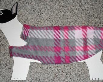 "Fleece Dog Coat medium (22-28 lbs., 23"" girth) EXTRA LONG Pink & Gray tartan plaid, cozy flannel lining"