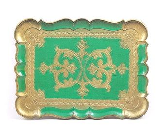 Wooden Emerald Green Tray Made in Italy