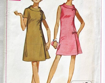 Vintage 1960s Womens A-Line Shift Dress Sewing Pattern Size 16.5 Half Size Bust 39 Simplicity 8159