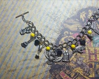READY TO SHIP Hufflepuff House Hogwarts Inspired Harry Potter Charm Bracelet