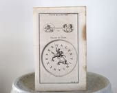 Rare Antique Symbol Engraving Published in Paris c. 1719 9 1/4 x 15 inches