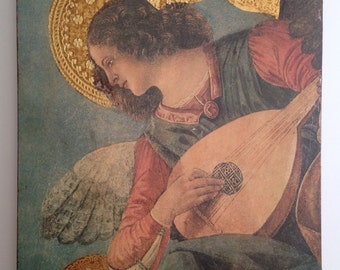 Beautiful Artwork of Angel Playing Lute / Vintage Italian Painting with Gold Leaf Design on Wooden Plaque / Christian Art