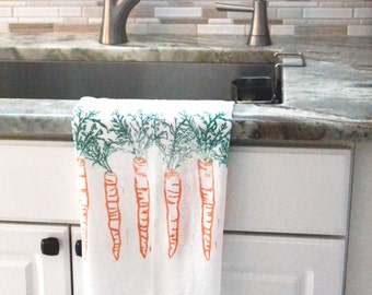 Hand printed dish towel, mother's day, hand printed flour sack towel, carrot dish towel, hostess gift, gift for her, gift for mom