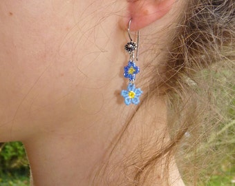 Plant forget-me-not earrings