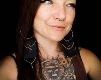 Three Strikes Leather Tribal Boho Panel Earrings - Black