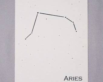 Aries Constellation Zodiac Sign Art Print 5x7 / Pen and Ink Print Reproduction / Wall Art / Home Decor / March - April Birthday