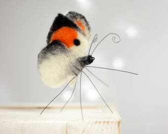Needle Felted Butterfly - Needle Felt Orange Butterfly - Summer Celebrations - Home Decoration - Needle Felt Art Doll - Summer Home Decor