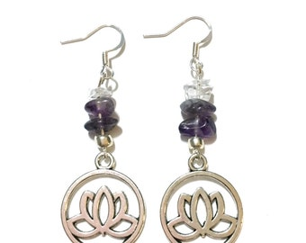 Lotus Earrings - Silver Bronze - Amethyst and Clear Quartz - Protection Guidance Intuition Pain Relief Healing Crystal Earrings