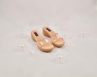 clear 90s sandals / 90s slides / minimalist / minimalist sandals / wedge sandals / 90s platform sandals / modernist / clear slide sandals