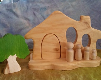 Wooden house plus paintable peg family, tree optional
