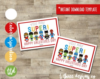 SUPERHERO Valentines INSTANT DOWNLOAD, Printable Valentine Cards, kids valentines, super hero valentine, supheroes