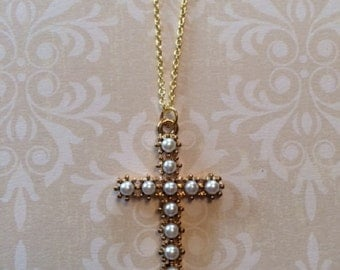 Cross Necklace - Cross Jewelry - Cross Necklace Women - Cross Necklace Gold - Pearl Cross Necklace - Pearl Cross - Pearl Necklace - Cross