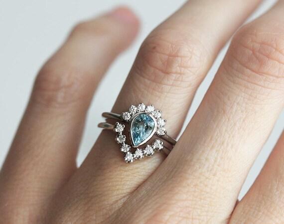 Aquamarine Engagement Ring Gold Aquamarine Ring Aquamarine