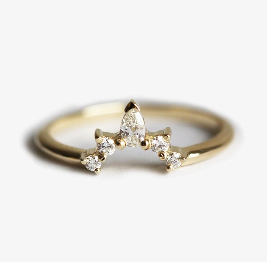 nesting wedding band contour diamond wedding band Diamond Wedding Band Diamond Crown Ring Curved Diamond Ring Curved Diamond Band Diamond Wedding Ring Nesting Diamond Band