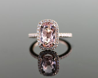 Rose Gold Engagement Ring with Cushion Diamond Halo and Morganite Center Stone