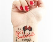 Custom Bachelorette Party Temporary Tattoos - Minnie Mouse Ears