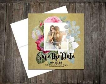Vintage Rose Photo Save-the-Date, rustic, engagement, floral, vintage, script, romantic