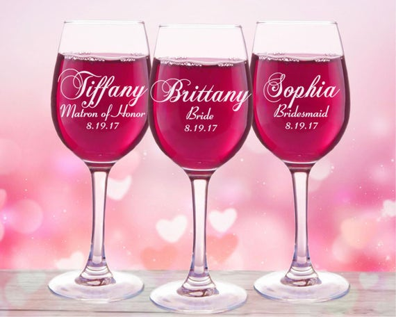 Engraved Wedding Party Gifts: 4 Personalized Bridesmaid Gifts Wine Glasses Bridal Party