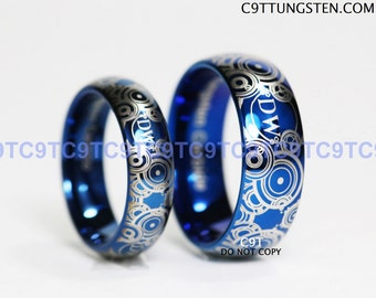 BLUE Doctor Who Inspired His 8mm Tungsten -OR- Hers 6mm Tungsten Ring In Advanced Gallifreyan Design