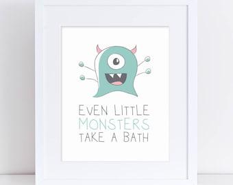 Kids Bathroom Art, Monster Art, Mint Green Monster Art, Kids Room Art, Kids Art, Wall Poster, Art Print, Digital Download - 5x7, 8x10, 11x14