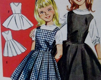 Vintage 1960s  Butterick Girls Variety of Jumpers, Pattern #9914 Size 10  Breast 28 ** Epsteam