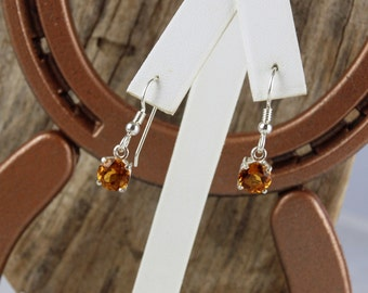 Sterling Silver Dangle Earrings - Natural Madeira Citrine Earrings - 7mm Natural Madeira Citrine Dangles on Sterling Silver Earwires