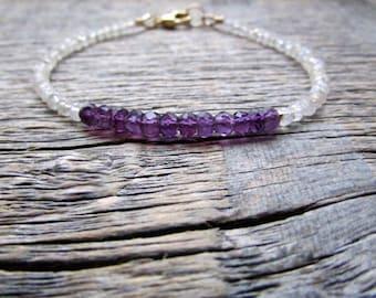 Amethyst Bracelet, Moonstone Bracelet, February Birthstone Bracelet, June Birthstone Bracelet, Gemstone Bracelet, Bead Bracelet, Amethyst