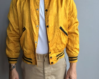 1950s Yellow Satin Varsity Jacket with snap button close Mich. Power Shovel Co (Medium)