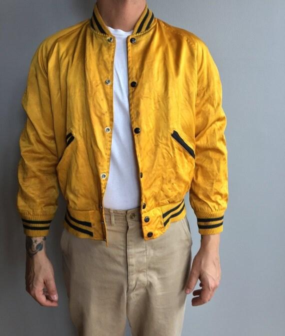 1950s Yellow Satin Varsity Jacket with snap button close Mich. Power Shovel Co (Medium)