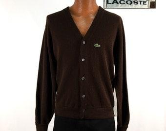 Vintage 70s Izod LACOSTE Acrylic Cardigan Sweater LARGE // Alligator // 1970s // Tan // Retro // Throwback // Gift // Gator // Camel