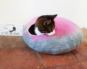 Cat Bed Cave House hand Felted Wool Grey and Pink with FREE Ball