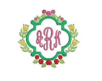 Rosebud Rose Flower Floral Wreath Frame Design File for Embroidery Machine Monogram Instant Download