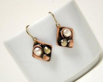 Copper Earrings, Rustic Earrings, Copper Jewelry, Dangle Earrings, Boho Earrings, Mixed Metal Copper And Brass Earrings, Metalwork Jewelry