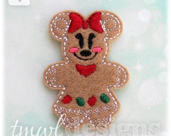 "Mrs Gingerbread Cookie Mouse Feltie Digital Design File - 1.75"""