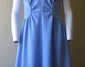 Fit-and-flare dress, 1970s vintage Alison Ayres sky blue frock, size small, USA