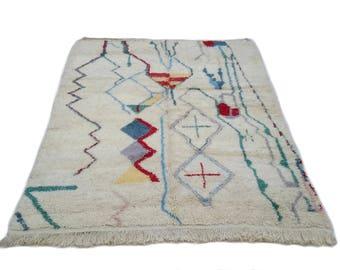 20% Off 9'x6' Ft / Handmade Moroccan Rug Beni Ourain 100 Wool / Azilal Rug / Boucherouite Rug / Beni Ouarain / Moroccan Kilim