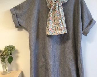 Grey Plus Size Linen Tunic Top